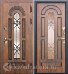 Входная металлическая дверь со стеклопакетом и ковкой 9,5 см Vikont Орех грецкий