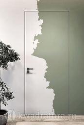 Скрытая дверь невидимка Invisible под покраску с алюминиевой матовой кромкой 2 стороны L/R