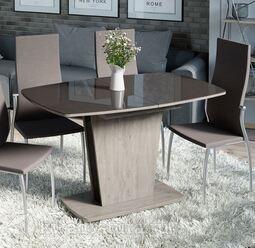 Стол обеденный Честер Тип 2 Дуб сонома трюфель/Стекло коричневое глянец