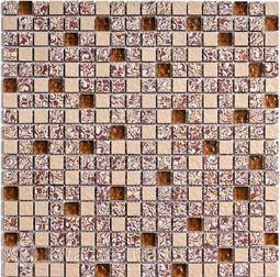 Мозаика стеклянная c камнем Bonaparte Dreams beige 30х30