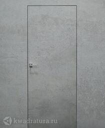 Скрытая дверь невидимка Invisible Бетон платина с алюминиевой черной кромкой
